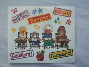 vtg-Suzy-039-s-Zoo-stickers-3-sheets-School-Desk-Super-Bravo-Terrific-Excellent
