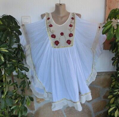 Italy Tunika Minikleid Off Shoulder Spitze Häkel Weiß Viskose BeInn EG 38-40