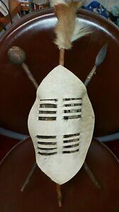 VINTAGE HAND-CRAFTED MINI ZULU WARRIOR SHIELD, CLUB & SPEAR AFRICAN COLLECTABLE