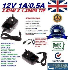 UK-12-V-1-A-1000-mA-AC-DC-3-5-Mm-x-1-35-mm-3-5X1-35-Punta-Cargador-Adaptador-De-Fuente-De