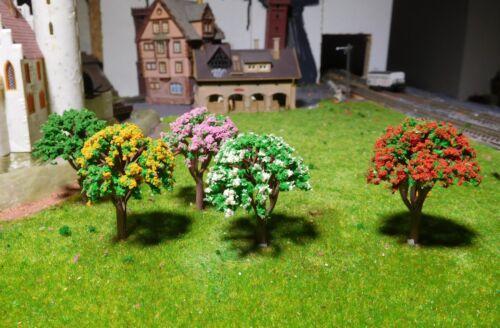 20 arbres, hauteur 45 mm, mélangé, Rouge, Jaune, Vert, Blanc, Rose