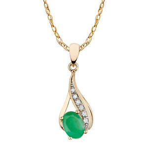 10k-Yellow-Gold-Genuine-Oval-Emerald-and-Diamond-Drop-Pendant-Necklace