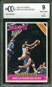 1975-76 Topps #300 Julius Erving Card BGS BCCG 9 Near Mint+