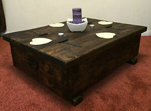 Image Is Loading Coffee Table Storage Box Wooden Plank Rustic Blanket