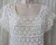 VINTAGE WHITE CROCHET Dress A Line Wedding Easter SLIP Medium Top Boho Country
