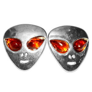 2-23g-Alien-Authentic-Baltic-Amber-925-Sterling-Silver-Earrings-Jewelry-N-A8488A
