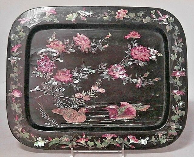 English Victorian Papier Mache Black Lacquered and Pearl Inlaid Tray