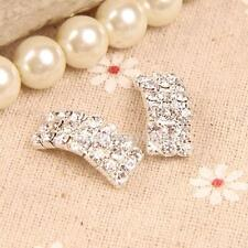50Pcs Charming Diamante Rhinestone Buckle Invitation Ribbon Slider for Wedding H