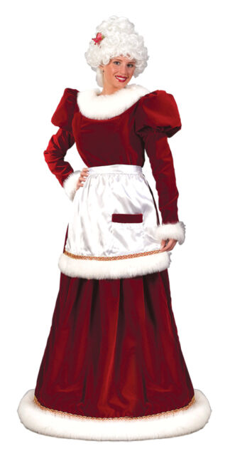 Traditional Velvet Mrs Santa Claus Adult Costume with Hoop Plus Size 16W 24W