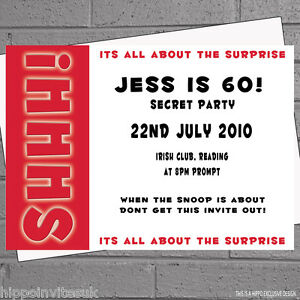 12 x Surprise Birthday Party Invitations Shhh Surprise with free envelopes H0255