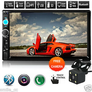 7'' 2 DIN In Dash HD Bluetooth Touch Screen Car Stereo Radio MP3 Player AUX CAM