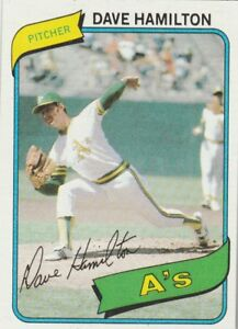 FREE-SHIPPING-MINT-1980-TOPPS-86-DAVE-HAMILTON-ATHLETICS-FACSIMILE-AUTOGRAPH