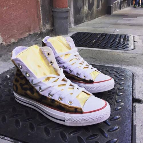 Bianche Tessuto Linguetta Converse Personalizzate Leopard All Con Star Oro Alte TnnZpq