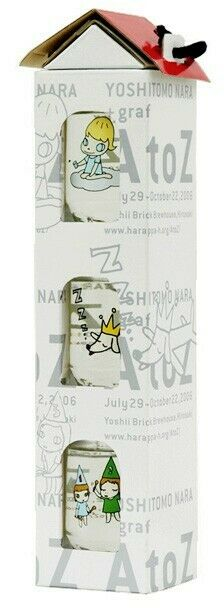 "YOSHITOMO NARA - ""A to Z"" Sake-Cup Glass Set (3pcs) New with Carded House Box!"