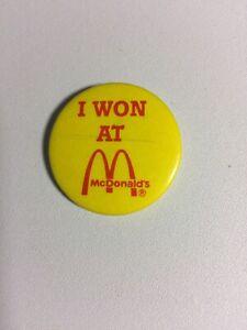 Vintage-I-Won-At-McDonald-039-s-Pinback-Button-Promo-Promotional-Advertising-1-1-4-034