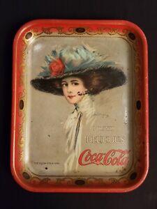 "Original 1909 Coca-Cola Hamilton King ""The Coca-Cola Girl"" Soda Tray (Scarce)"