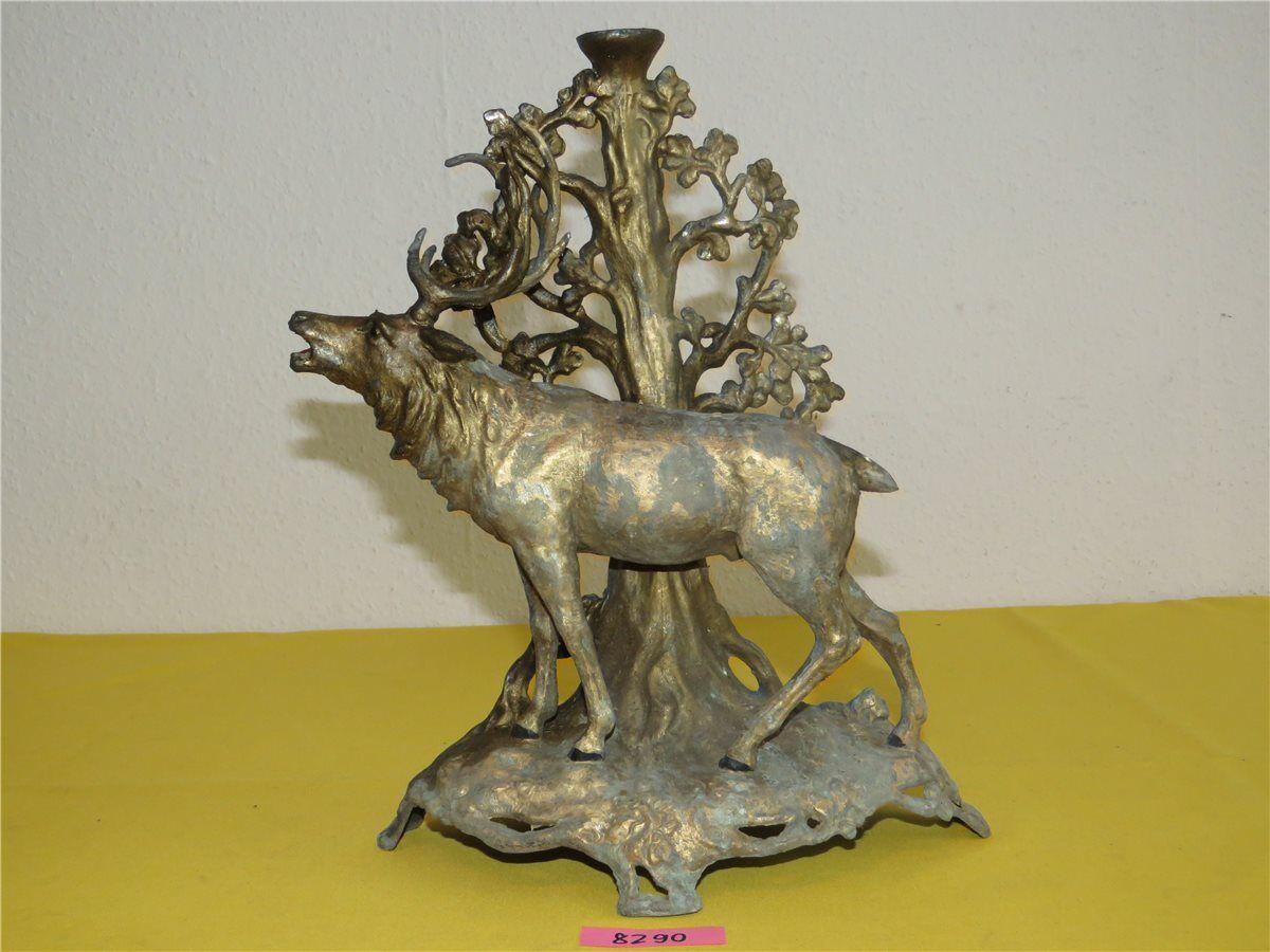 Antike Hirschskulptur aus Aluminium Guß röhrender Hirsch H 33cm Figur Jagd Jäger