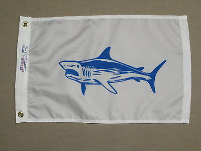 "White Marlin Fish White Blue Indoor Outdoor Dyed Nylon Flag Grommets 12/"" X 18/"""