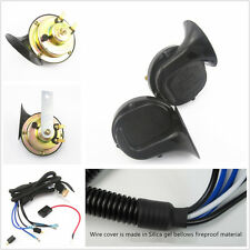 2 x Black 12V 110 db Loud Dual-tone Snail Electric Horn With Wiring Harness Kit