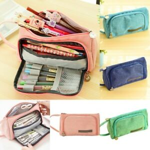Large Multi-Layer Pink Canvas Pencil Case Pouch Box Pen ...