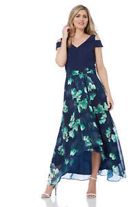 Roman-Originals-Women-039-s-Blue-Floral-Print-Cold-Shoulder-Maxi-Dress-Sizes-10-20