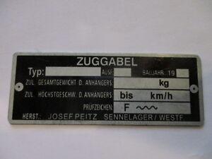 Josef Peitz Typenschild Schild Zuggabel Deichsel Schere Espe s37 s44