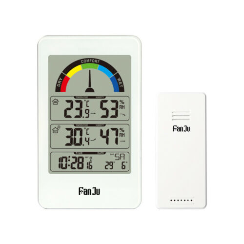 FanJu 3356 Weather Station Clock Temperature and Humidity with Outdoor Sensor