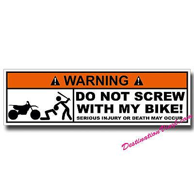 2 x Glossy Vinyl Stickers - Warning Bike Motorbike Funny Joke #0055