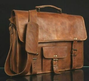 Men/'s Vintage Brown Leather Messenger Bag Genuine Leather Shoulder Laptop Bag