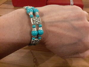 Brand-new-ornate-Tibetan-silver-bangle-with-turquoise-beads-and-gift-box