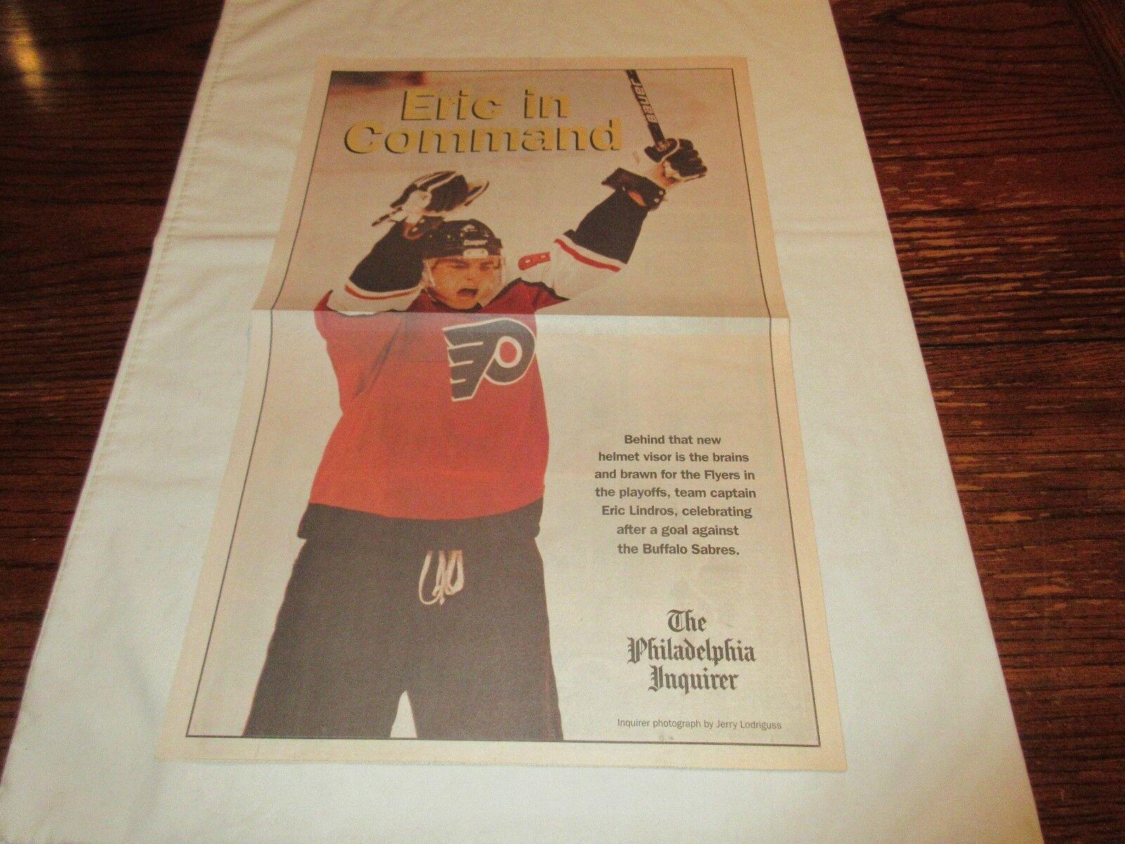 Eric Lindros , Philadelphia Flyers , Newspaper Poster ,