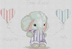 Cross-Stitch-Chart-New-Baby-Birth-Sampler-Elephant-3-FlowerPower37-uk