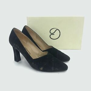 St-John-Women-039-s-Rebecca-Marie-Black-Suede-Leather-Heels-Pumps-Italy-Size-7-B