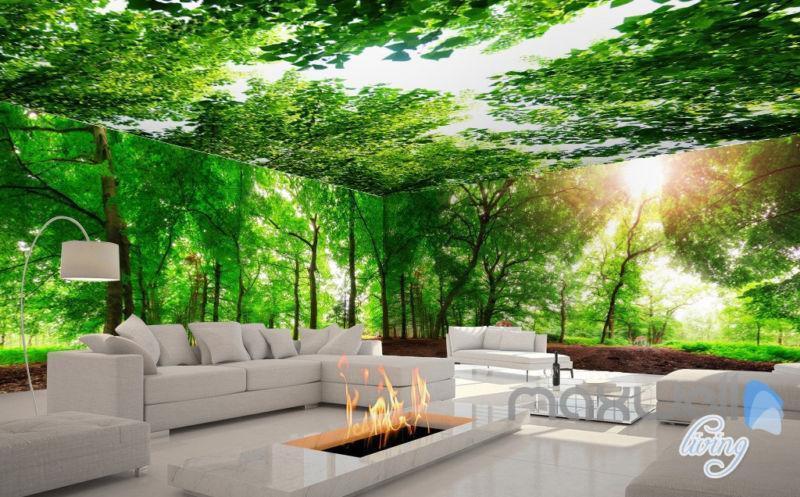 3D Grün Sunshine Forest Deer Entire Living Room Wallpaper Wall Mural Art Prints