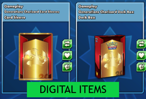 Generations Charizard Card Sleeves and Deck Box PTCGO Online Digital Item