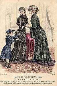 """90/ Gravure De Mode """" Journal Des Demoiselles """" 1881 Superbes Couleurs ! Bonne RéPutation Sur Le Monde"""