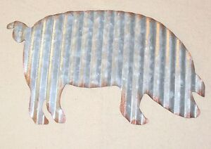 NEW~Rusty Corrugated Tin Pig Wall Hanging Farmhouse Decor