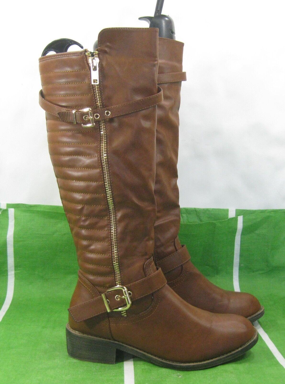New ladies Tan 1.5 block heel Round Toe  inside pocket Sexy Knee Boot Size 11
