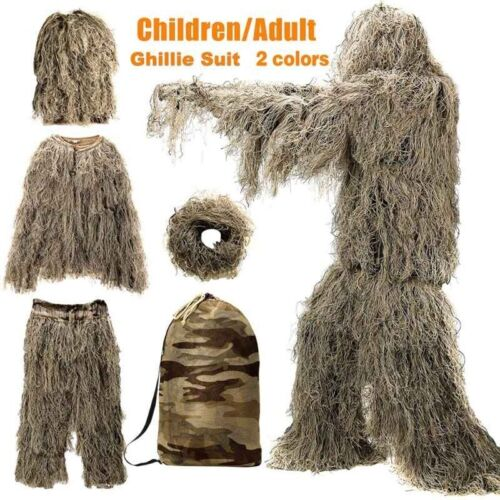 3D Tactical Camouflage Leaf Clothing Forest Hunting Sniper Ghillie Suit Woodland