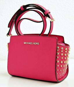 Details about Michael Kors Bag Shoulder Bag Selma Studded Small Electric Pink New show original title