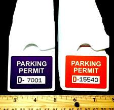 Lot Of 5 Purple Or Orange Rearview Mirror Metallic Parking Permits Withfree Number