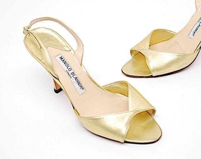MANOLO BLAHNIK Gold Leder Open Toe Slingback w/Twist Front - NICE - 36.5/US6.5
