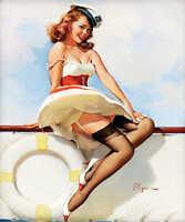 'sailor Girl' 1970s Elvgren Vintage Pin Up Girl Poster Print 50x42