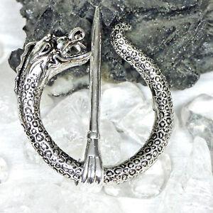 Drache Fibel 6 cm 82g Bronze versilbert Mantelfibel Ringfibel Kelten Wikinger