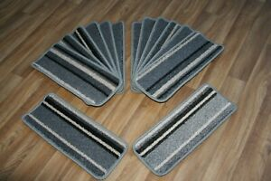 14 Striped Open Plan Carpet Stair Treads Funky Silver 009 14 Large Pads!