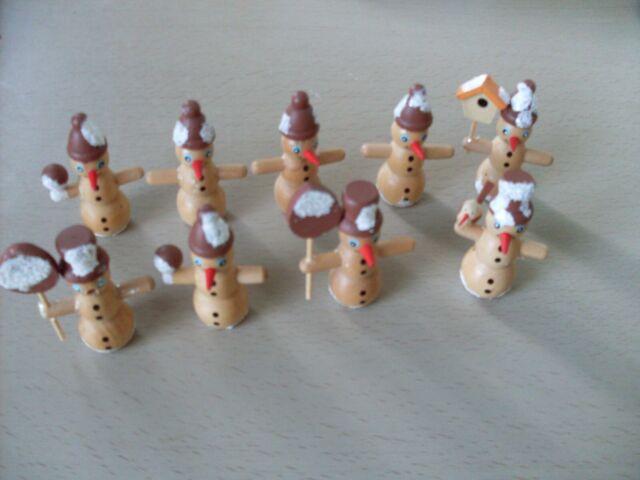 9 Mini Schneemann Holz Schwibbogen Pyramide Basteln Weihnachts Figur Glitzer