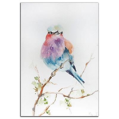 Colorful Bird Wall Art Modern Watercolor Rainbow Birds Artwork Metal Giclée Art