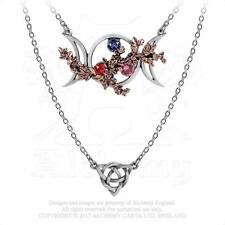 Alchemy Gothic Wiccan Goddess Of Love Triple Moon Phase Layered Necklace P785