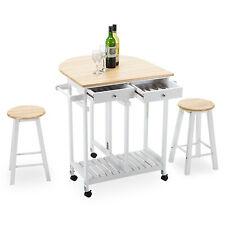 Oak Kitchen Island Cart Trolley Storage Dining Table 2 Bar Stools 2 ...