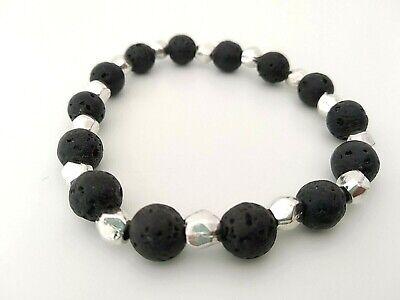 Bola negra gruesa Perla De Cristal Pulsera Elástica 19 Cm L